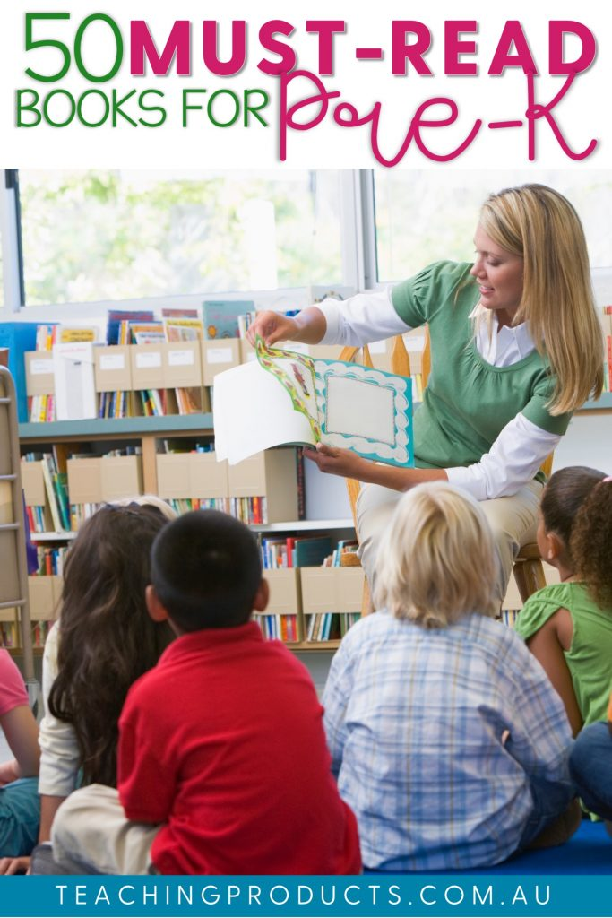 Pinnable image of teacher reading book to young children 50 must read books for pre-k