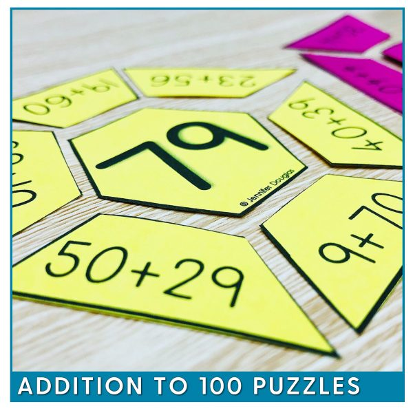 addition puzzles to 100
