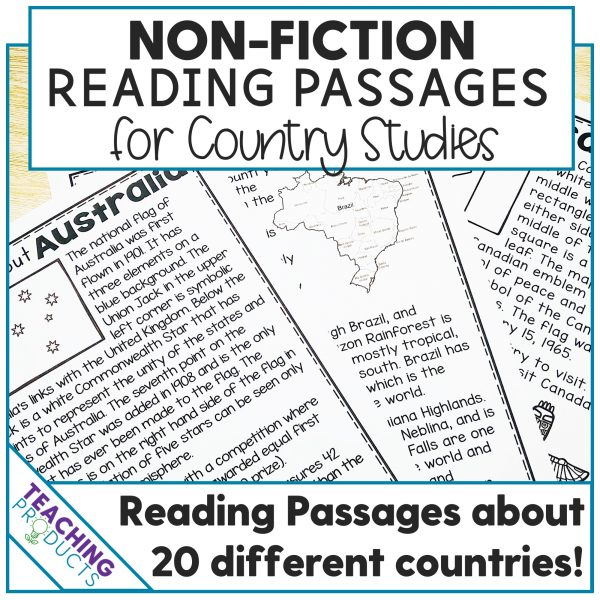 Non-fiction reading passages for country studies