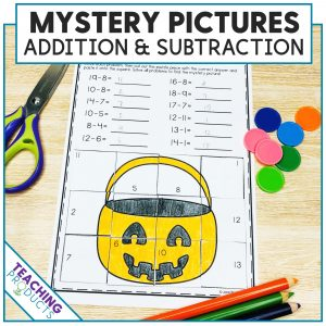 Addition and Subtraction Myster Picture Puzzle Halloween theme