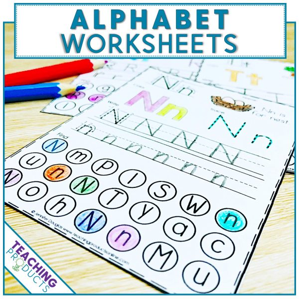 No prep printable alphabet worksheets for writing and letter recognition