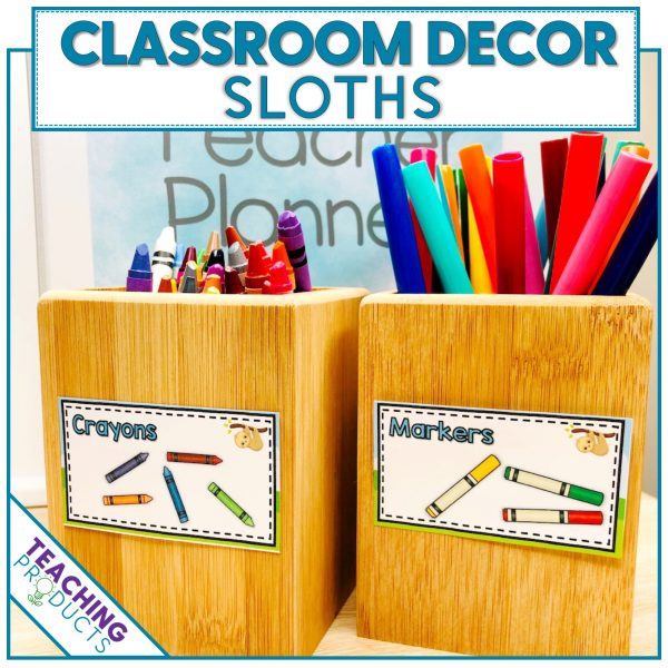 Classroom decor pack with a sloth theme