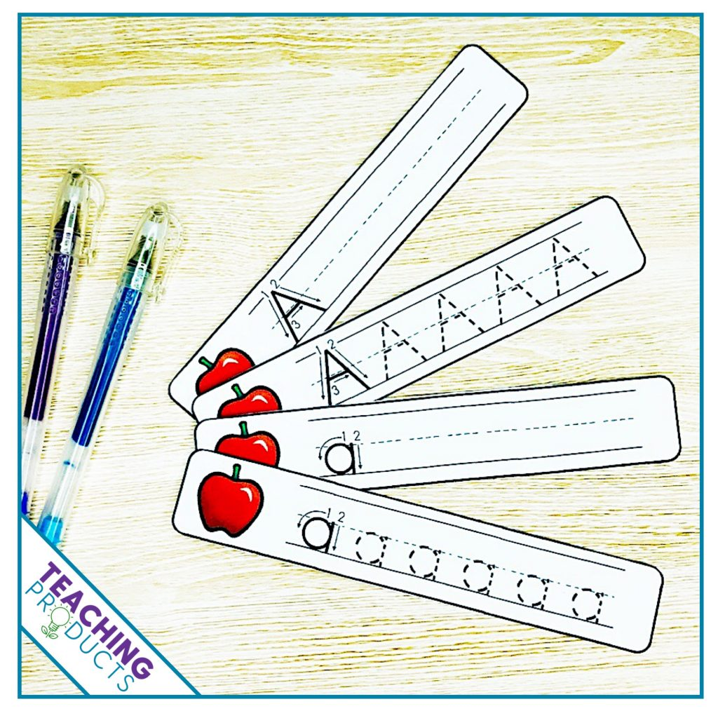 Alphabet write and wipe strips for letter writing practice