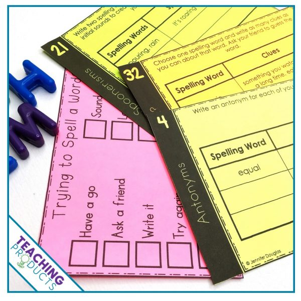 Spelling activity cards for any list of words