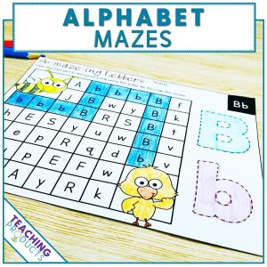 Alphabet mazes to reinforce letter recognition - upper and lower case letters