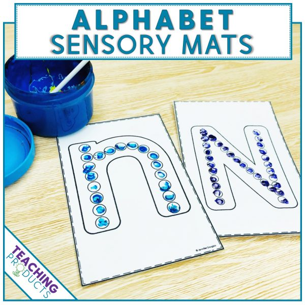 Alphabet sensory mats to support letter recognition and writing skills - use with play-doh, yarn, beads, paint, etc